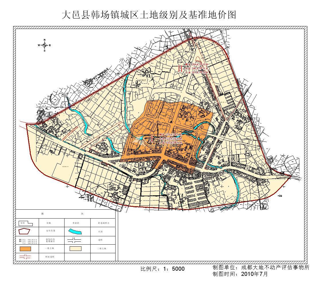 大邑县韩场镇城区土地定级与基准地价表(2011版)